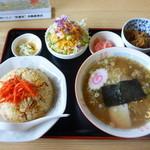 丸金食堂 - 半チャーハン&半ラーメンセット850円