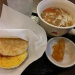 モスバーガー - 朝モス「朝御膳(黄身醤油ソース)」400円(税込)