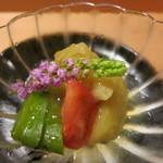 懐石 斉藤 - 料理写真:賀茂茄子・トマト・万願寺とうがらしの土佐酢ジュレ掛け
