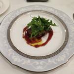 ISHIDA - フォアグラのポアレ 杏のコンフィ、有機ルッコラ、ペリグーソース