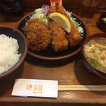 とんかつ かつ吉 - エビ&ヒレカツ定食 ¥1800