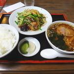 雪谷飯店 - レバニラ炒ライス+ミニラーメン