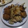 日本一 - 料理写真:醤油ももから揚げ、手羽先、ひなねぎ串、つくね、かわ