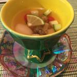 Kaisekichayamizuoto - 箸初:鮑の吸い酢(長芋・胡瓜・トマト・酸橘)