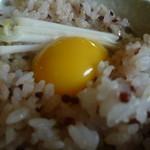 おっぽに亭こっこ - 古代米の赤と黄身の黄色が、とってもきれい