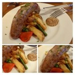 ピースマイル - 自家製ソーセージのオーブン焼き(ローストポテト付き)800円・・ビックサイズです。       肉汁タップリで、ソーセージ好きが美味しいと申しておりました。