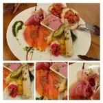 ピースマイル - 前菜盛り合わせ・・写真は二人分です。日により内容が変わるそうですよ。 スモークサーモン・生ハム・紫芋を使用したタラモサラダ・カポナータ・プルスケッタなど。