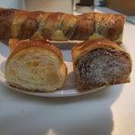 パンプキン - 断面。左:ミニクロワッサン 右:チョコレートスティック(?)