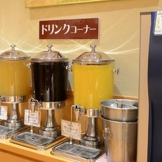 ジュース、有機珈琲、健康茶、紅茶が飲み放題
