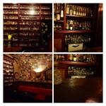 Bar CABLE CAR - 壁にはミニチュアボトルが並べられ、天井一杯に世界中のBARのコースターが張られています。