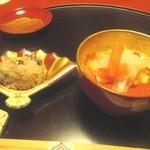 菊乃井 本店 - 結婚記念日ということでお店からお祝いの膳が準備されていた