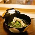 30056664 - 2014.8 お椀盛り(鴨丸沢煮椀、京水菜、牛蒡、九条葱)