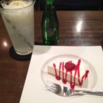 れんが - レモンスカッシュとレアチーズケーキ