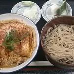 30067309 - 店内メニュー カツ丼 冷たい小鉢ソバ950円