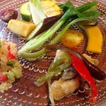 30069978 - 土日祝日ランチコースの前菜  こだわり野菜のサラダと鱧のエスカベッシュ