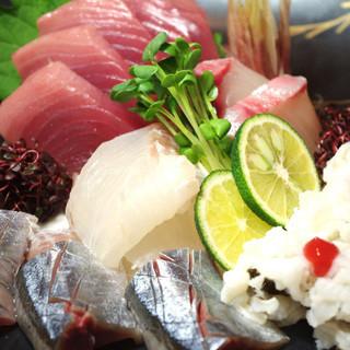 天然鮮魚のお造り盛り合わせ!