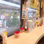 カレーショップ 酒井屋 - サンモール一番町アーケードを見下ろす、窓側のカウンター席。健康関連の本が並ぶ