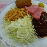 慶応義塾大学三田キャンパス 山食 - 2014.08 ハンバーグ、クリームコロッケ、ポークハム