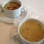 30089169 - 細切れクレープが入ったコンソメスープ/ウィーン風のポテトスープ