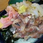 30095615 - アジ・イカ二色丼