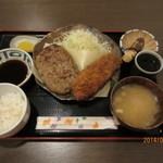 とんかつ播 - ハンバーグ&ロースカツ定食