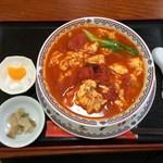 30106677 - 【2014年05月】自家製刀削麺(トマトと卵のピリ辛味)提供時@1,004円。
