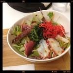 Maisai - タコと法蓮草のサラダごはん /  このお店の味噌汁はちょっと不思議な味がします。どうやって作ってるんだろう。