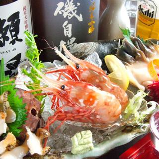 鮮度抜群の魚介&肉料理を!