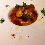 ビストロ シャノアール - モリガキさんの卵とトウモロコシのピュレ 大山鶏ジュレ