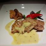 30167372 - お肉 黒豚ロースのグリル・アボカドクリームソース・インカ芋のリヨネーズ添え