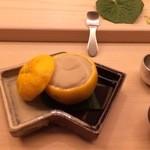 鮨 生粋 - 名物の鱈白子の柚釜