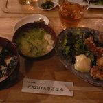 Kazuyaのごはん - 若鶏の唐揚げ定食750円