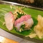 月乃家寿司 - カワハギ、金目鯛、石タイ