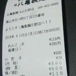 丸亀製麺 - レシート(2014.08.25)