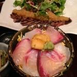わびさび - 牛ロースステーキ わさびおろし プラス 海鮮丼 @新橋 わびさび本店