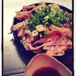 ト灯 - 野菜と豚の蒸し焼き  ポン酢で食す