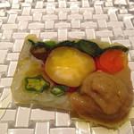 30185921 - 前菜 お野菜のゼリーよせ バーニャカウダーのソース添え