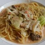 四季彩 MOCCO - 牛肉の煮込みとキャベツのトマトクリームスパゲティ(lunch)H26.8
