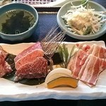 30197811 - カルビ三昧定食1350円 キムチの量が物足りないね・・・ご飯は農家流通米で美味しかった