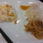 30198636 - 140816朝食:ちらし寿司、春雨の酢の物、切り干し大根とこんにゃくの炒め物
