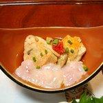 鶴生館 - アンコウの肝の酒蒸しと真鱈の白子のポン酢和え