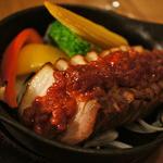 燻製工房 - 厚切りベーコンの鉄板焼き~もろ味噌マリネ~ 1,058円 ベーコンに味噌とは素晴らしい!