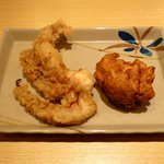 はなまるうどん - げそ天(137円)・鶏唐揚げ(105円)