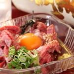 TACHI-BANA - 国産黒毛和牛みすじ肉のユッケ!880円