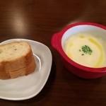 彦根バルやぶや食堂 - ランチ・本日のスープとフランスパン!