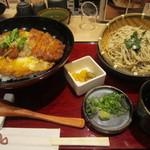 三宝庵 - かつ丼と冷たいそばのセット