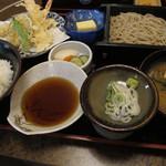 丸嶋 - 天ぷら定食+ミニそば ¥980+¥160-