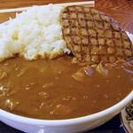 嵯峨野 - ハンバーグカレー(大) しっかりご飯が盛り上がっていますw カレーは表面張力状態(笑