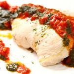 カーサ デ ソレラ - 総州古白鶏むね肉のワイン蒸し~トマトバジルソース~