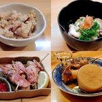 炉ばたちさ - 料理写真:おから(付出)・鱈白子・牡蠣のベーコン巻・おでん